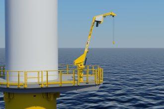 Specjalny żurawik do stosowania na platformach morskich turbin wiatrowych. Jest łatwy do montażu i oferuje wiele możliwości