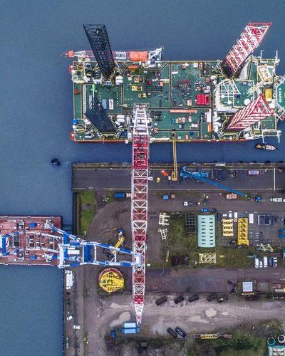 Modyfikacja żurawia BOS 45000 na pokładzie Seafox 5 w Rotterdamie